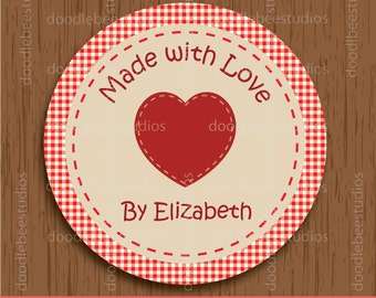 Made with Love Labels, Digital Labels, Printable Stickers, Customizable Labels, Printable Labels, Personalized Labels, Cupcake Toppers