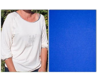 Royal blue jersey/cotton jersey fabric