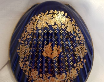Limoges blue cobalt and gold