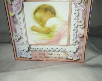 baby girl hand made card