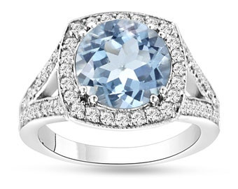 Aquamarine Engagement Ring, Wedding Ring 14K White Gold 2.90 Carat Pave Halo Handmade Certified