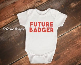 Wisconsin baby Wisconsin baby badger Wisconsin badgers baby outfit Newborn Wisconsin outfit Newborn baby badger Baby badger gift Wisconsin