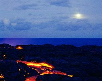 Lava Moon Photo Greeting Card - Kilauea Volcano Landscape Photograph Big Island Hawaii Fine Art Photography - Blank Card