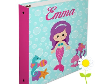 Personalized Binder for Kids - Mermaid 3 Ring Binder for Girls - Custom School Binder - Mermaid Binder with Name - Back to School Gift