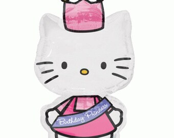 FAST SHIP Jumbo Hello Kitty Princess Birthday Balloons, Hello Kitty Party Balloons, Hello Kitty Mylar Balloons, Hello Kitty Party Supplies