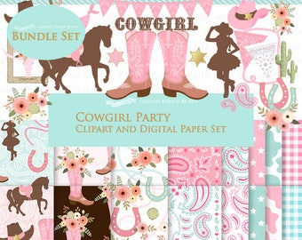 Cowgirl clipart, Cowgirl Digital Paper, Cowgirl Digital, Cowgirl Party, Cowgirl Boots, Cowboy Boots, Pink Clip Art + Digital Paper Set