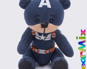 "Captain America bear ""Stealth suit"" - marvel superhero movie comic plush toy avengers steve rogers"