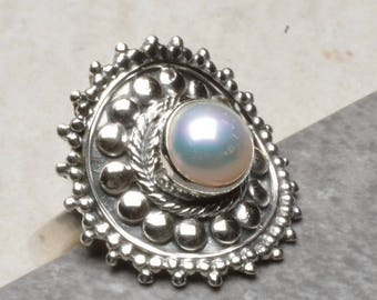 Beautiful Natural Grey Pearl In 925 Sterling Silver Ring Sz 7.25