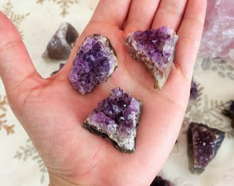 Free Small Amethyst Cluster Crystal / Surprise Crystal Stone / Mystery GiftBox