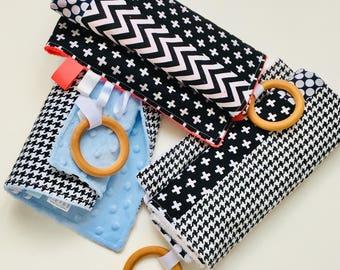 "Taggy Blanket 20x20"", Tag Blanket, Security Blanket, Baby Blanket, Baby Gift, Shower Gift, Teething Toy, Teething Blanket, White"