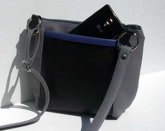 Sample Sale, Gray Crossbody Purse, Vegan Leather Handbag, Colorblock Bag, Sale Bag