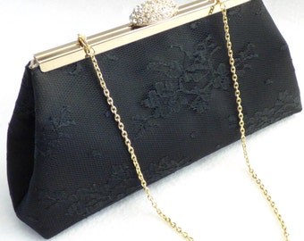 Black and Champagne Bridal Clutch, Wedding Clutch, Mother of the Bride Gift, Mother of the Groom Gift, Bridesmaid Gift, Bridesmaid  Clutch