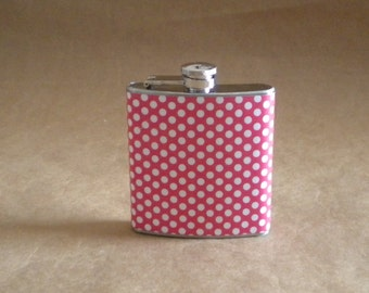 College Sorority Birthday Gift Red and White Small Polka Dot Print Girl Gift Flask 6 ounces