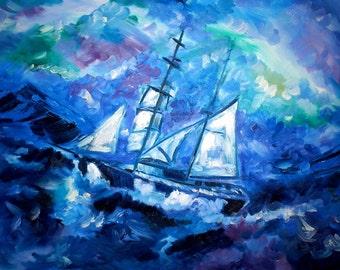Original Art Print. Stormy seas original oil painting by BrandanC