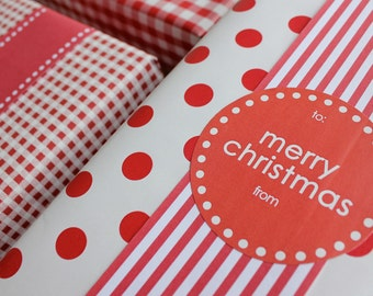 Merry Christmas Labels in Red