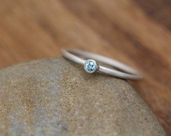 Blue Zircon 2.5mm Round Matte Stacking Ring - Skinny Blue Zircon Ring - In Argentium Sterling silver -  Stackable - Smooth Round Texture