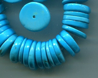 Sleeping Beauty Turquoise Large Disc Heishe Beads, AAA Quality  5269-B