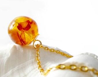 Fine Amber necklace 45 cm Ø 16 mm amber Necklace pendant (0084/K45)