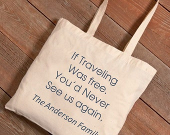 Family Travel Personalized Tote - Canvas Travel Tote Bag - Roadtrip Tote (NC)