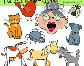 KPM Old lady who swallowed a Fly Digital Clipart COMBO