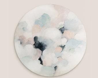 "Petit a petit No. 2 - 20"" Round Original Painting on wood - Wall Art"