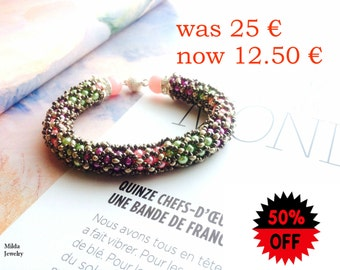 SALE Stackable Bracelet for women, Handmade colorful rainbow glass beaded bracelet, beadwork jewelry, pink, green, purple, silver bracelet