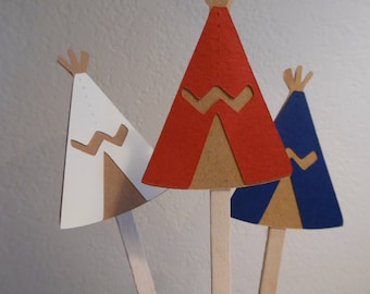 Tribal Cupcake Toppers- Tribal Baby Shower -  Tee-Pee cupcake toppers - Tribal Birthday Party