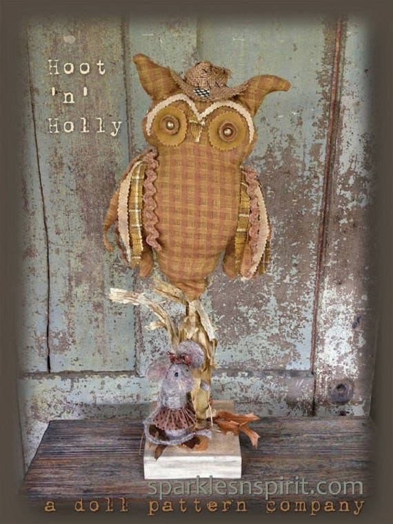 """Doll Kit: """"Hoot 'n' Holly"""" 22 inch Owl and Mouse for doll pattern by Sparkles n Spirit"""