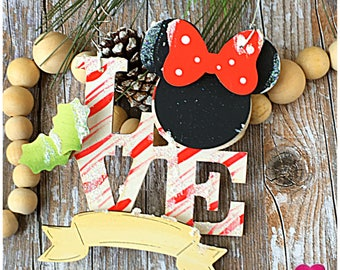 Personalized Disney Minnie Mouse Christmas Ornament. Peppermint Disney Family Ornament. Minnie Mouse Ornament. Gift for her. Gift for Kids.