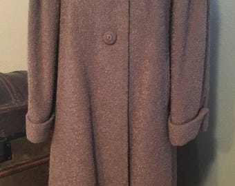 Vintage Women's Ladies' Coat with Fur Collar - Briny Marlin, 1950's Vintage Winter Over Coat Overcoat