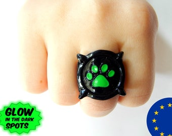 Cat Noir ring glow in the dark. Any size. Europe warehouse.Miraculous Lady Bug and Chat Noir paw print