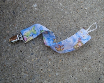 Fabric Pacifier Clip- Mermaids