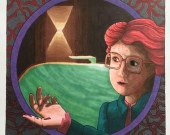 Barb's Big Moment Original Drawing- Stranger Things Inspired - Pool Scene - Upside Down - Horror Art - Ink Drawing - Inktober 2017