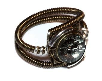 Steampunk Jewelry - Ring - Black Diamond Swarovski Crystal - Silver Tone and Bronze