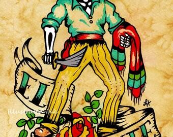 Day of the Dead Tattoo Art EL VALIENTE Loteria Print 5 x 7, 8 x 10 or 11 x 14