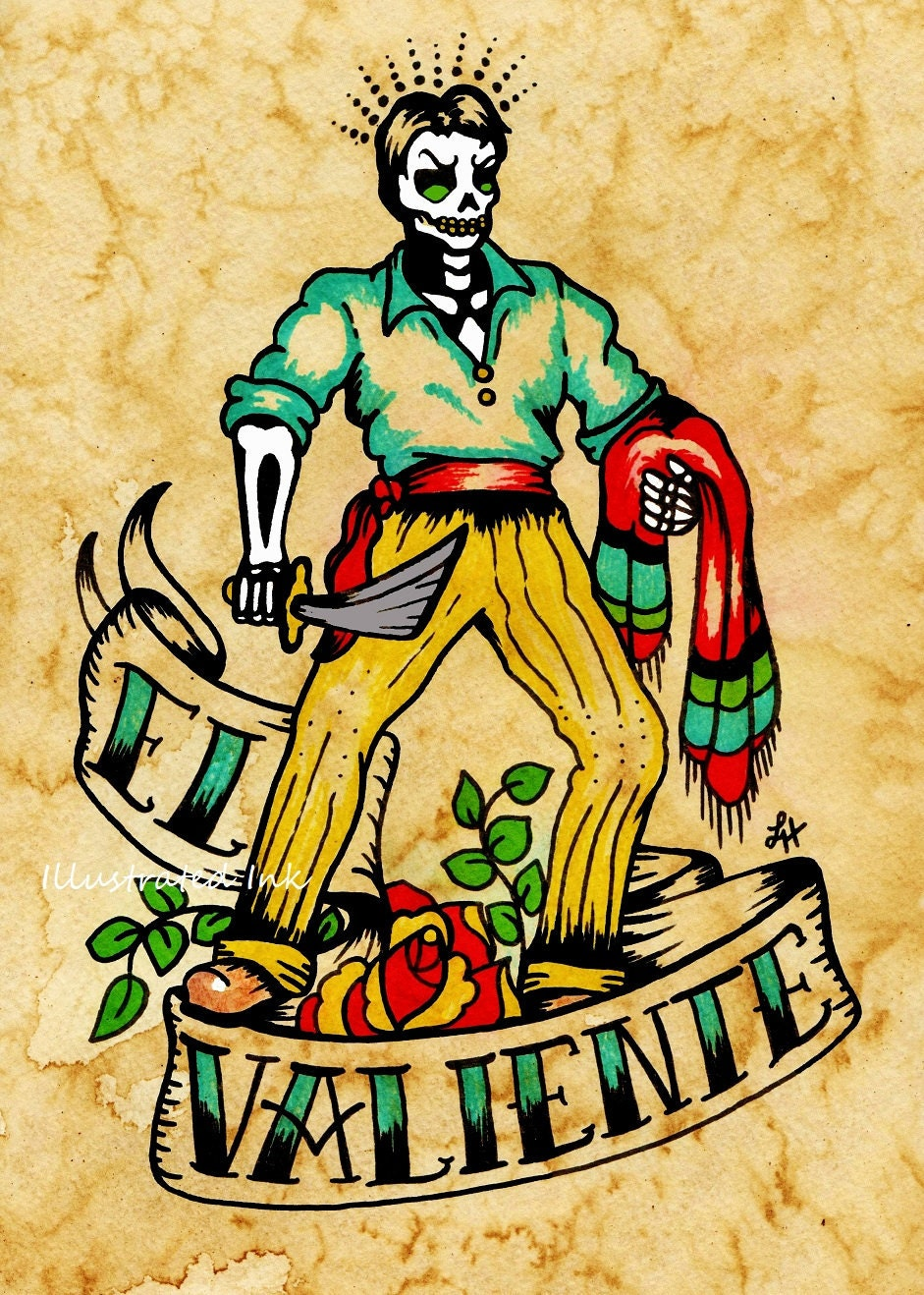 Day of the Dead Tattoo Art EL VALIENTE Loteria Print 5 x 7 8