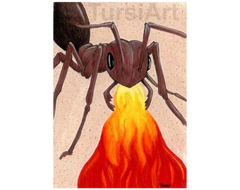 Fire Ant art print Ant breathing fire pun illustration Multi sizes - ATC ACEO 4x6 5x7 8x10 Greeting Card Matted Unmatted small format art