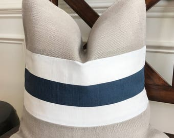 Light Gray Burlap with Blue and White Striped Fabric Pillow Cover