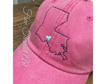 LADIES State Hat and Heart with Side Monogram Baseball Cap Hat LEATHER strap Mom Bridesmaid Bride Bachelorette Pigment Dyed South Louisiana