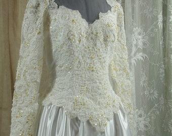 Vintage White Satin Wedding Gown, 1980-90's, Size 10-12,