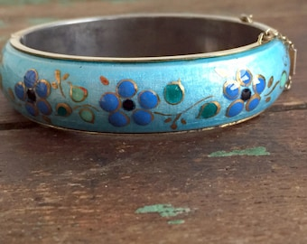 Vintage Enamel GUILLOCHE Hinged Bangle Bracelet Blue with hand painted Flowers