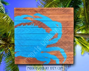 Blue Crab painting on reclaimed wood