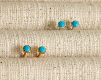 Tiny Turquoise Stud Earrings, Turquoise Earrings, 3mm Turquoise Gold plated earrings, Turquoise Jewelry, Cartilage Stud, Helix, Boho Earring