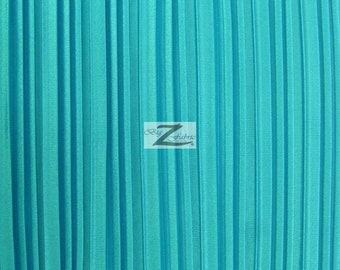 """Shiny Pleated Plisse Satin Fabric - TURQUOISE - Sold By The Yard 59"""" Width"""