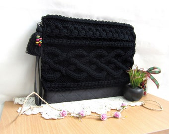 Mother's day sale|Fabric clutch|Linen clutch purse|Knit handbag|Hand knit clutch|Large clutch bag|Handmade wristlet bag|Fabric purse
