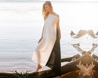 Linen dress, maxi dress, white and black color block dress, long asymmetric dress, one shoulder boho dress ~Brahmacharya~
