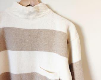 Vintage Mock Neck Striped Sweater