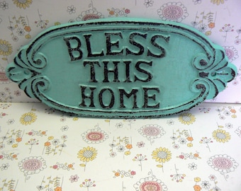 Bless This Home Oval Cast Iron Welcome Greeting Sign Cottage Beach Blue Wall Entryway Door Decor Plaque Shabby Elegance New House Gift