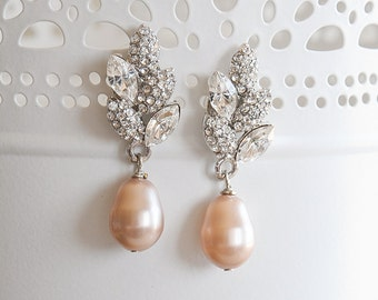 Champagne Bridal Wedding Stud Earrings, Filigree Leaf Swarovski Crystal and Pearl Wedding Bridal Earrings, Art Deco Bridal Jewelry, ASHTYN