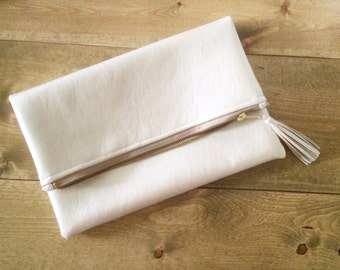 Vegan Metallic Ivory Leather Foldover Clutch - Gift for her, Birthday, Anniversary, Bridesmaid, Bride